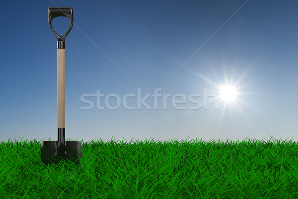 Shovel on grass. garden tool. 3D image Stock photo © ISerg