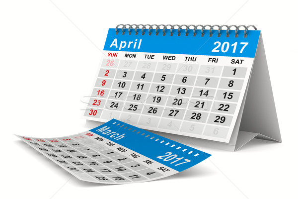 2017 year calendar. April. Isolated 3D image Stock photo © ISerg