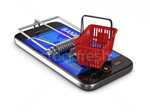 phone in mousetrap. Isolated 3D illustration Stock photo © ISerg