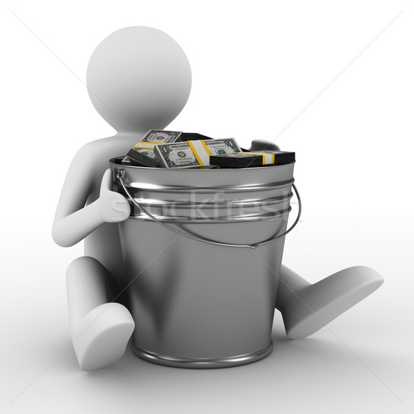 businessman with bucket of money. isolated 3D image Stock photo © ISerg