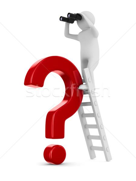 Homme escalier rouge question isolé 3D Photo stock © ISerg