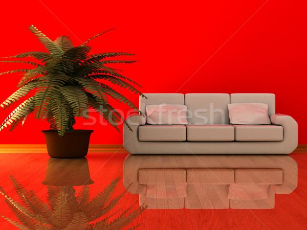 Interior salón 3D imagen flor pared Foto stock © ISerg
