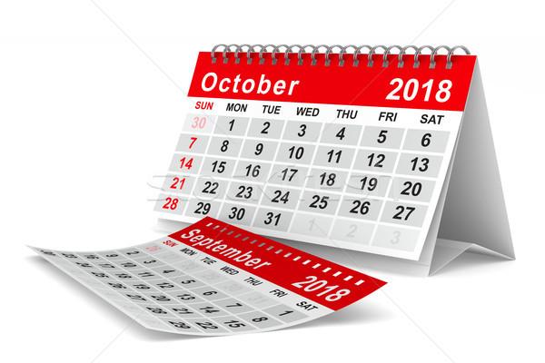 2018 year calendar. October. Isolated 3D illustration Stock photo © ISerg