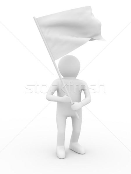 Uomo onde bandiera bianco isolato 3D Foto d'archivio © ISerg
