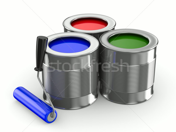 roller brush on white. Isolated 3D image Stock photo © ISerg