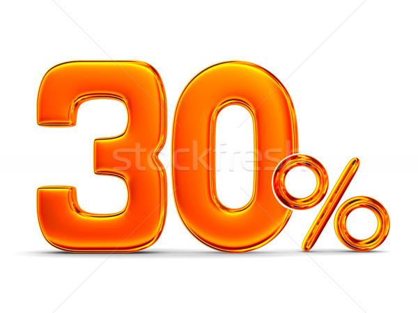 Stock fotó: Harminc · százalék · fehér · izolált · 3d · illusztráció · pénz