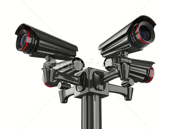 Négy biztonsági kamera fehér izolált 3D kép Stock fotó © ISerg