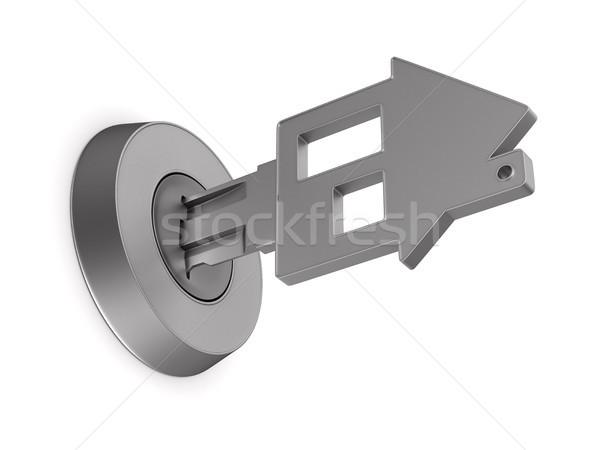 Foto d'archivio: Metallico · chiave · bianco · isolato · illustrazione · 3d · porta