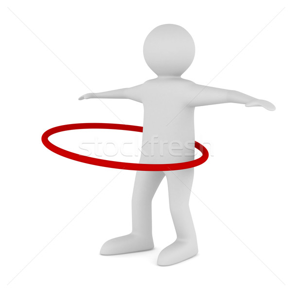 man and hula hoop on white background. Isolated 3D image Stock photo © ISerg