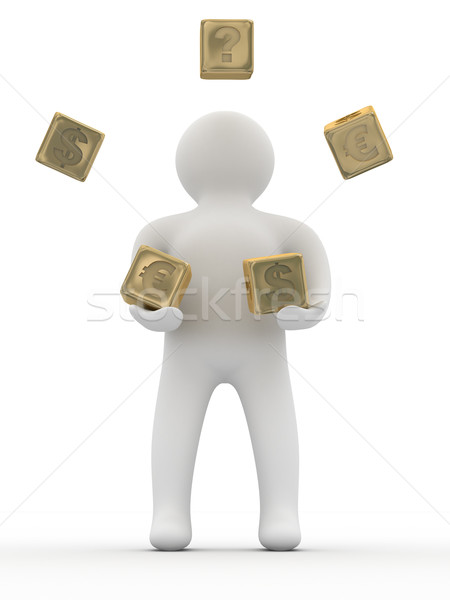 person throwing cubes. Isolated 3D image. Stock photo © ISerg