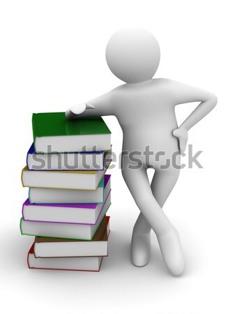 student with the laptop sitting on books. 3D image. Stock photo © ISerg