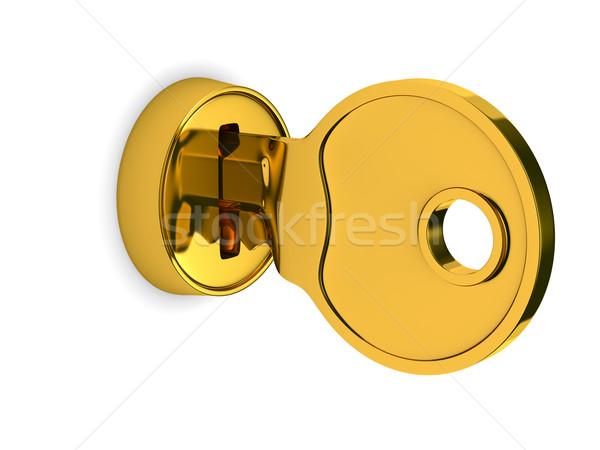 Isolated key and lock on white background. 3D image Stock photo © ISerg