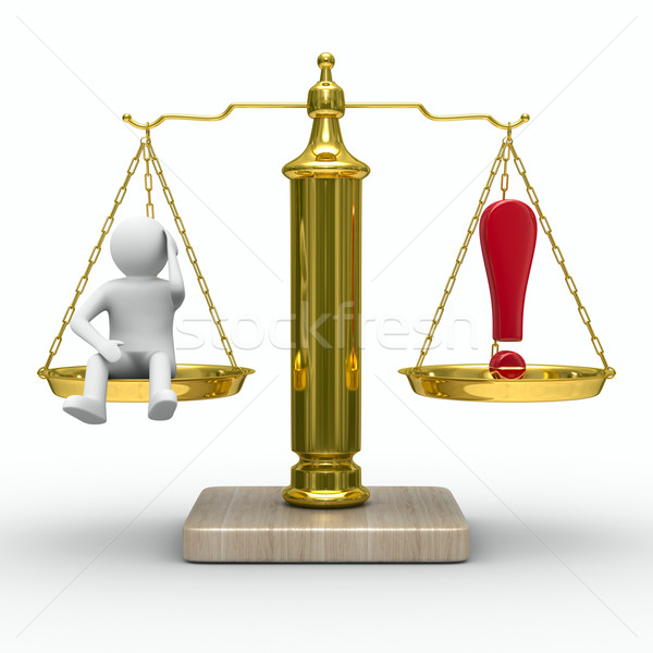 man and exclamation point on scales. Isolated 3D image Stock photo © ISerg