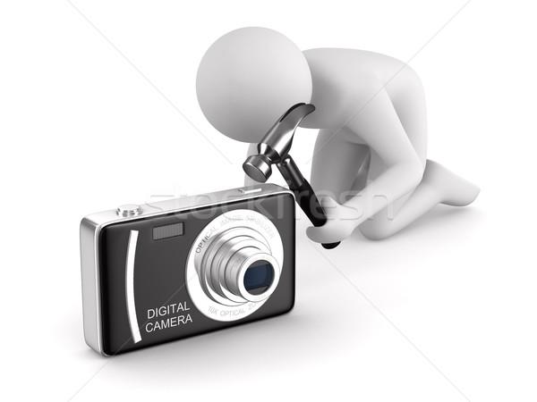 Adam kompakt dijital fotoğraf makinesi yalıtılmış 3D görüntü Stok fotoğraf © ISerg