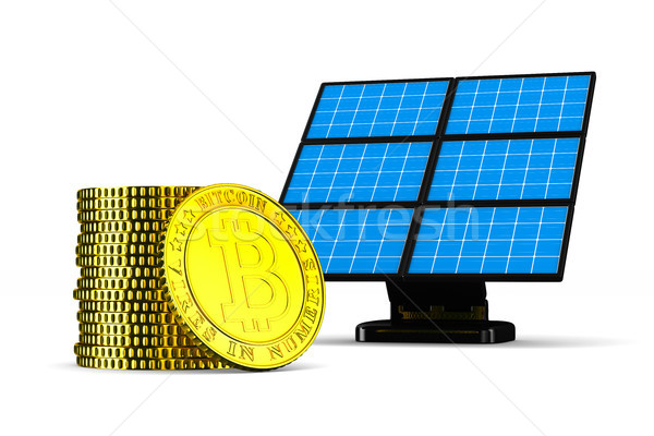 solar battery and bitcoin on white background. Isolated 3D illus Stock photo © ISerg