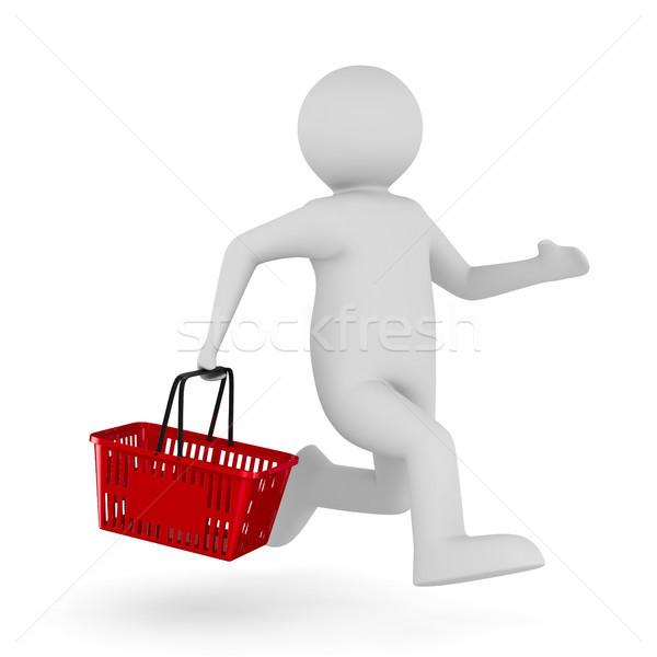 Férfi bevásárlókosár fehér izolált 3D 3d illusztráció Stock fotó © ISerg