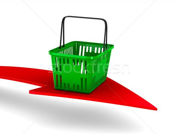 Green empty shopping basket and arrow on white background. Isola Stock photo © ISerg