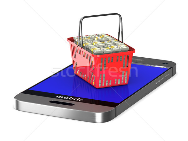 Stock photo: phone and red shopping basket on white background. Isolated 3d i