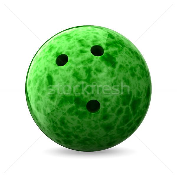 Bowling topu beyaz yalıtılmış 3d illustration sanat eğlence Stok fotoğraf © ISerg
