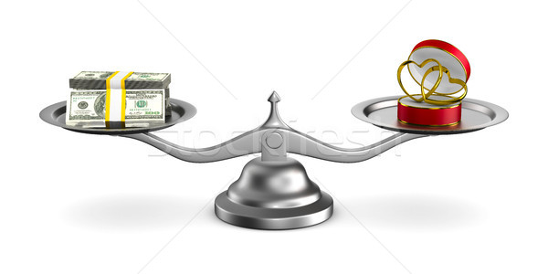wedding rings and money on scales. Isolated 3D illustration Stock photo © ISerg