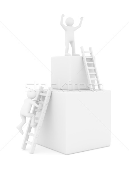 man on box and staircase. Isolated 3D image Stock photo © ISerg
