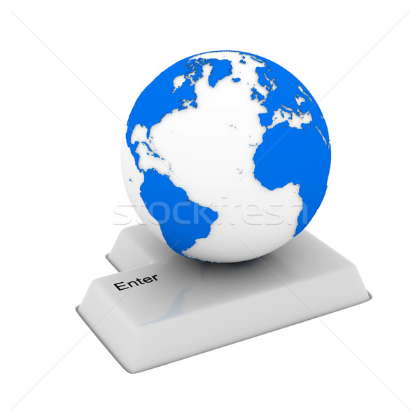 button and globe on white background. Isolated 3D image Stock photo © ISerg