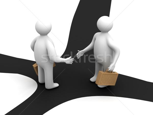 Stock fotó: Megbeszélés · kettő · üzletemberek · 3D · kép · üzletember
