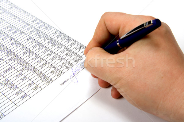 Mano firma documento business segno contratto Foto d'archivio © ISerg