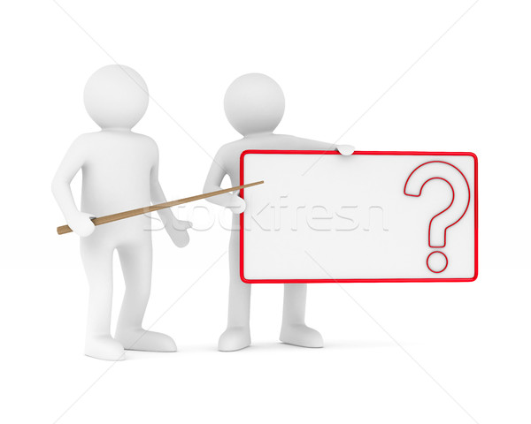 Stock photo: billboard with question on white background. Isolated 3D image