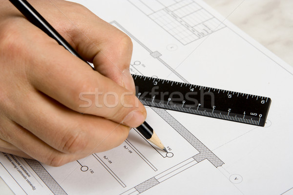 The engineering drawing on a paper. Ruler. Pencil. Stock photo © ISerg