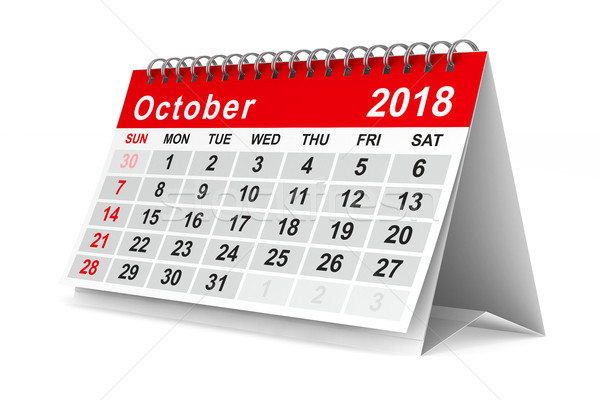 2018 year calendar. October. Isolated 3D illustration Stock photo © ISerg