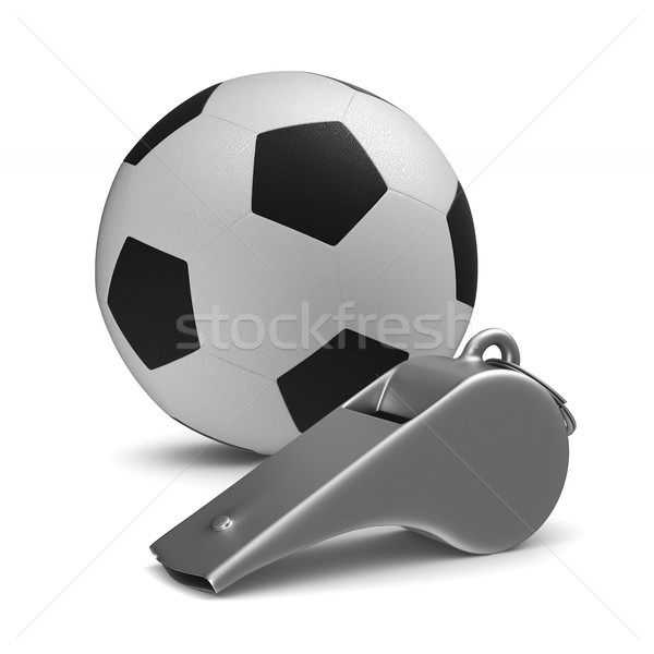 Metal whistle and soccer ball on white background. Isolated 3D i Stock photo © ISerg