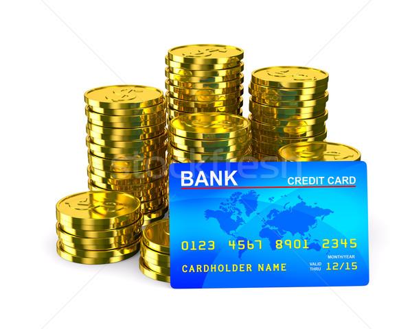Stock fotó: Oszlop · arany · érmék · hitelkártya · izolált · 3D
