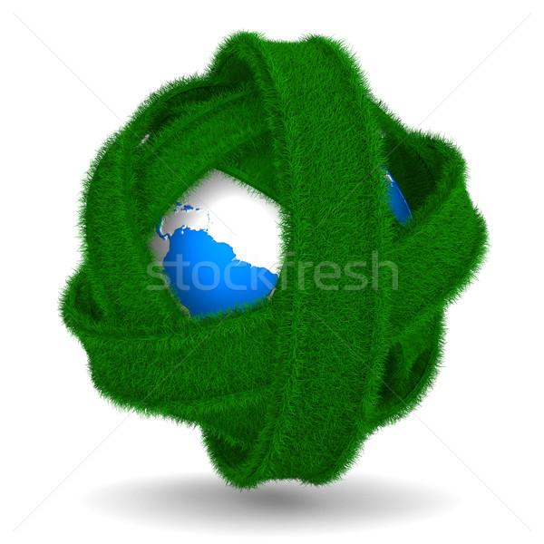 Wegen wereldbol witte geïsoleerd 3D afbeelding Stockfoto © ISerg