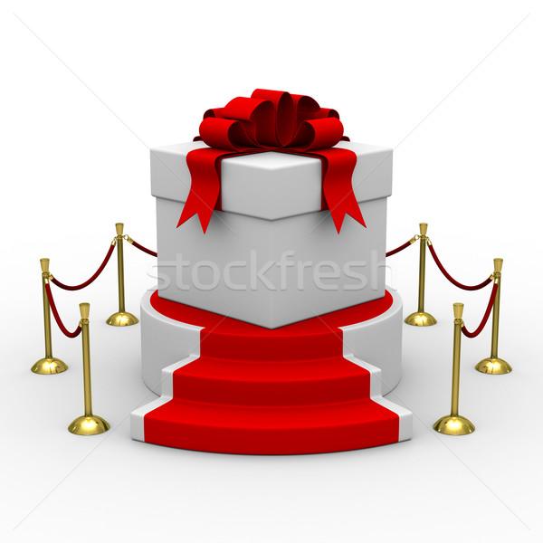 Stockfoto: Witte · geschenkdoos · podium · geïsoleerd · 3D · afbeelding