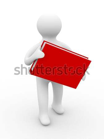 Stock photo: man holds book on white background. Isolated 3D image