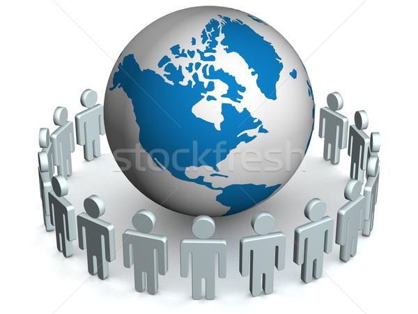 Zdjęcia stock: Grupy · ludzi · stałego · świecie · 3D · obraz · Internetu
