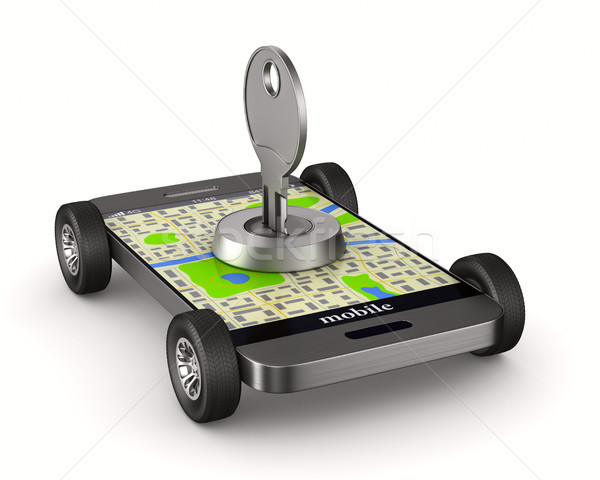 Stock photo: Navigation in phone. Security transportation. Isolated 3D illust