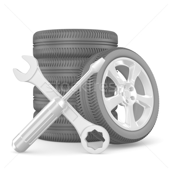 Autó szolgáltatás izolált 3D kép technológia Stock fotó © ISerg