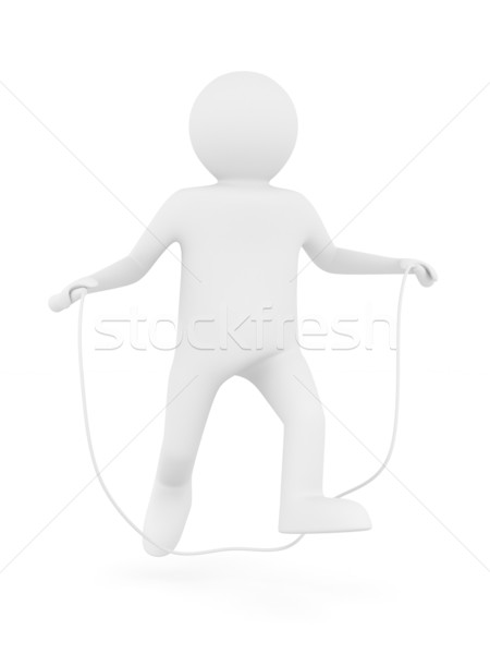 man jumps on skipping rope. Isolated 3D image Stock photo © ISerg