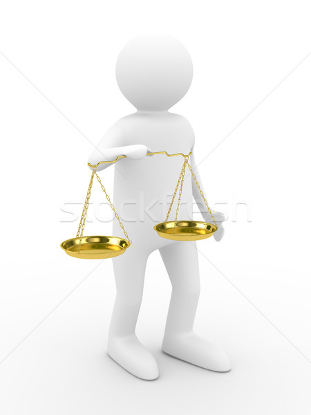 Stock photo: person with scales on white background. Isolated 3D image