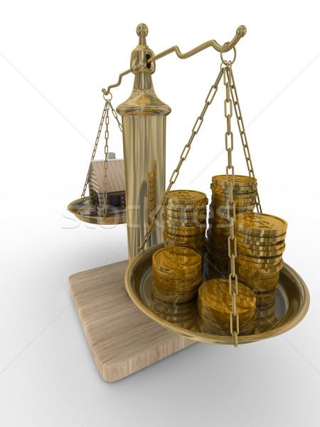 Stok fotoğraf: Ev · ağırlıklar · yalıtılmış · 3D · görüntü · ev