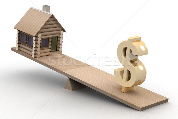 house and dollar on scales. 3D image. Stock photo © ISerg