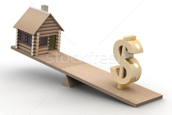 дома доллара Весы 3D изображение домой Сток-фото © ISerg