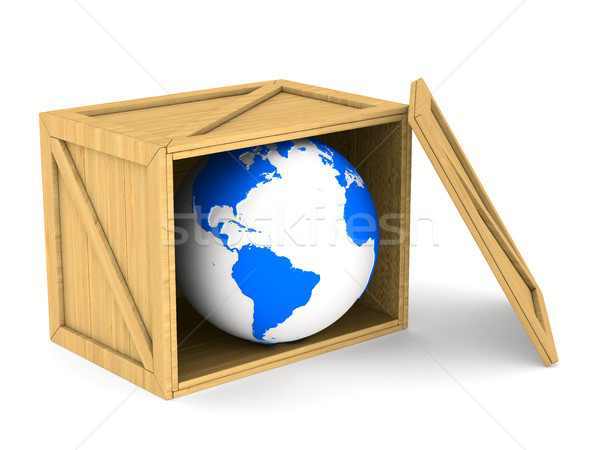 wooden box with globe. Isolated 3D image Stock photo © ISerg