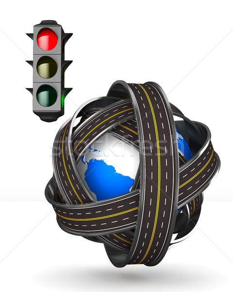 Stoplicht witte geïsoleerd 3D afbeelding auto Stockfoto © ISerg