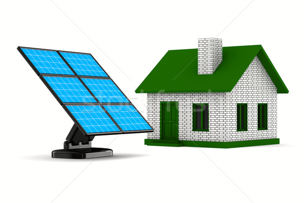 solar battery and house on white background. Isolated 3d image Stock photo © ISerg