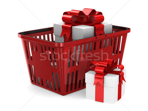 gift box in red shopping basket on white background. Isolated 3d Stock photo © ISerg