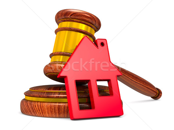 wooden gavel and red house on white background. Isolated 3D illu Stock photo © ISerg