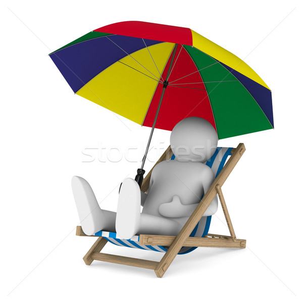 Deckchair and parasol on white background. Isolated 3D image Stock photo © ISerg